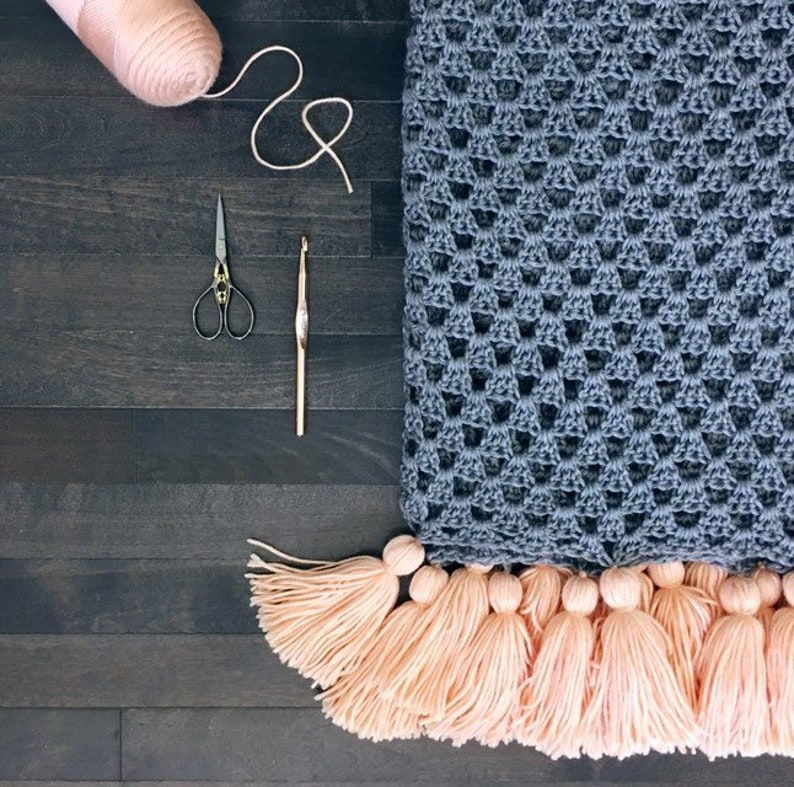 READY TO SHIP Peach Tassels . crocheted throw . blanket . image 0