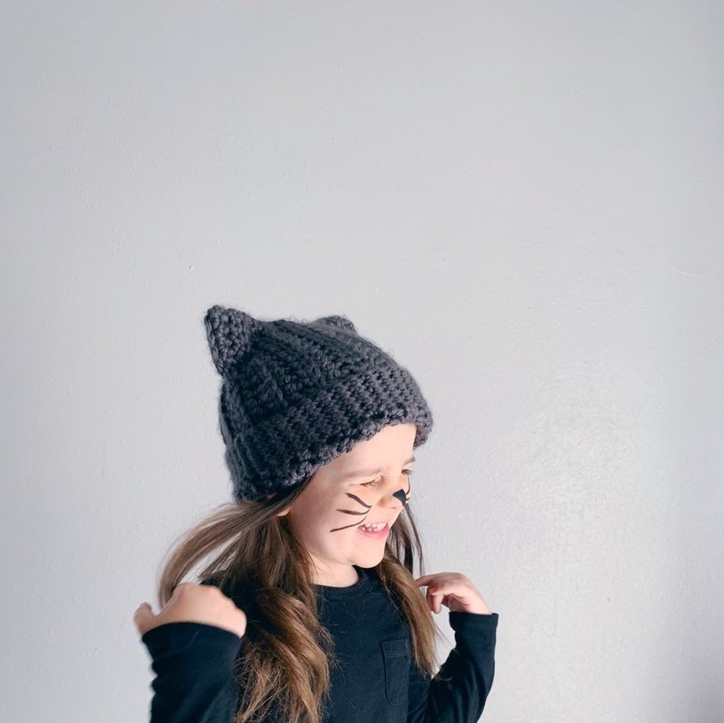 CAT HAT . hand crocheted beanie . ALL sizes . image 0
