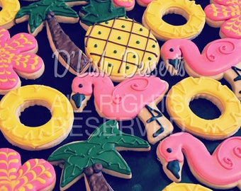 Flamingo Pineapple Palm Trees Decorated Sugar Cookies - One Dozen