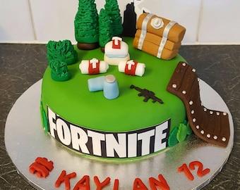 edible fondant fortnite game cake toppers - fortnite cake decoration ideas