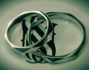Wedding Band Set, Wedding Rings,Wedding Ring Set,14k White Gold