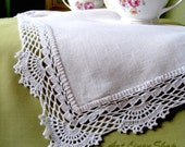 Wedding tablecloth Linen table runner lace White doily crochet Kitchen tablecloth