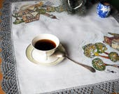 Crocheted doily linen table runner White tablecloth wedding Handmade painted tablecloth