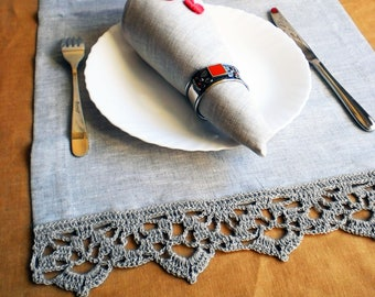 Crochet table runner Linen table runner Rustic linen runner Long linen runners Lace linen runner Wedding linen runner Natural linen runner
