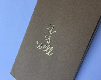 Custom Journal | Personalized Journal | It Is Well | Prayer Journal | Scripture Journal | Hand Lettered