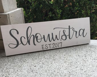 Family Name Wedding Gift | Custom Family Name Est. Sign | Hand Painted Family Name Sign | Wedding Gift | Last Name Sign | Custom Wood Sign