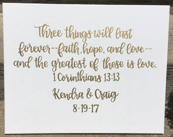 Wedding Canvas | Custom Canvas | 1 Corinthians | Love Quote | Love Decor | Wedding Decor | Wedding Sign | Wedding Date | Welcome Sign