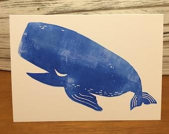 Whale lino print card