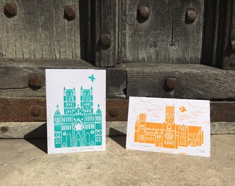 Lincoln Cathedral hand printed card