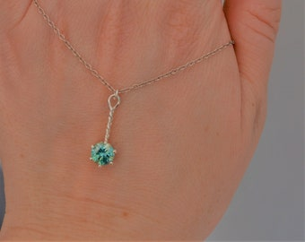 Sterling Silver Twisted Bar Blue Moissanite Necklace