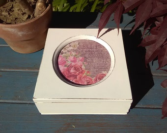 Small Up-cycled Shabby Chic White Jewelry Box with Roses