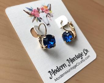 Swarovski 8mm Sapphire Drop Earrings