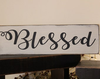 Blessed Wood Sign, Family Sign, Blessings, Farmhouse, Grateful, Thankful, Home Living, Family Room Sign, Marriage Sign, Wedding Sign, Love