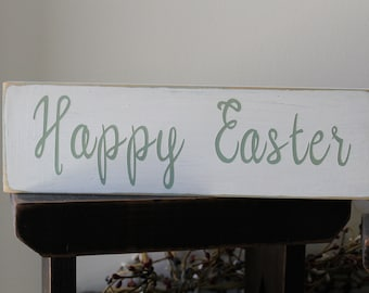 Happy Easter Wood Sign, 1 FT Wood Sign, Resurrection Sign, Easter Bunny, Spiritual Sign, Passover Sign, Spring Sign, Farmhouse Sign, Family