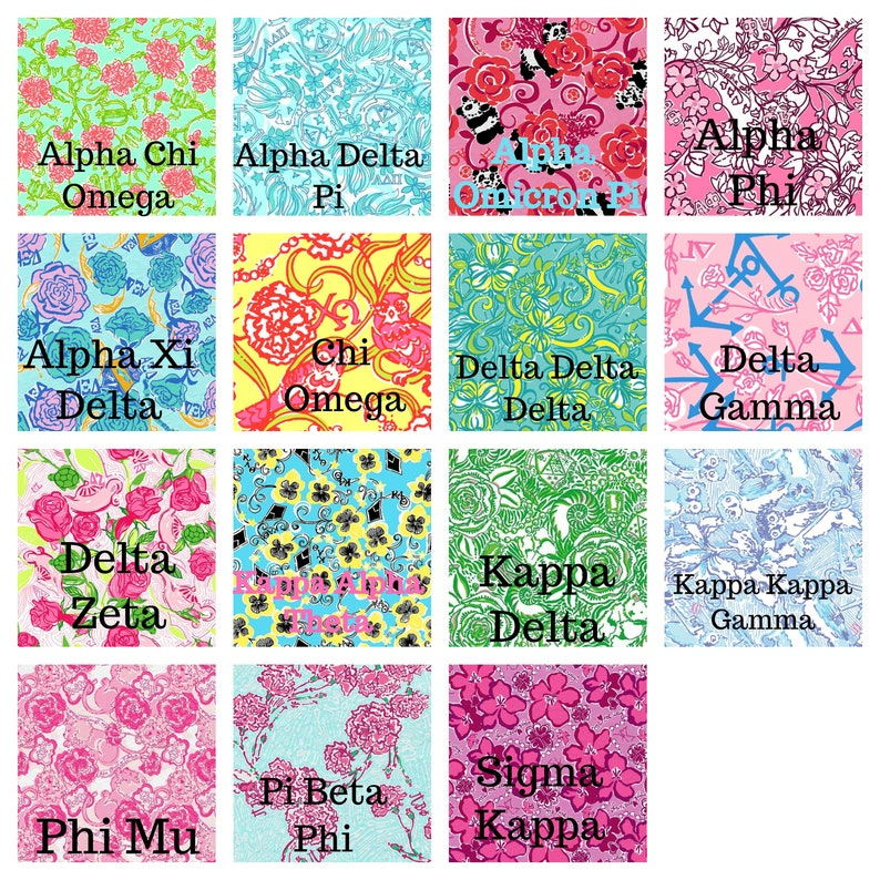 a1adf5350b4ba3 Sorority Greek Letter Lilly Pulitzer Inspired Decal | Etsy