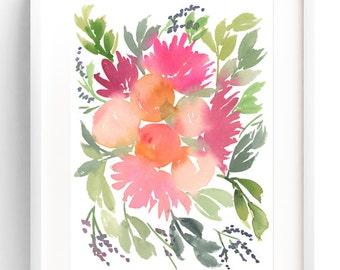Fruits & Blossoms , Watercolor Art Print, Watercolor Painting, Floral Watercolor Painting, Wall Art Print, Floral Art, Watercolor Flowers