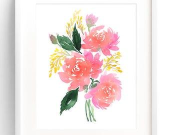 Peonies Bouquet, Watercolor Flowers Print, Watercolor Art Print, Floral Painting, Wall Art Print, Watercolor Flowers, Home Decor Ideas