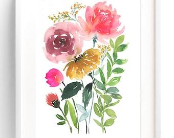 Floral Bunch, Watercolor Flowers Print, Watercolor Art Print, Floral Painting, Wall Art Print, Watercolor Flowers, Home Decor Ideas, Floral