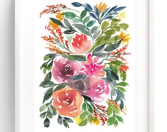 Flowers & Foliage, Watercolor Flowers Print, Watercolor Art Print, Floral Painting, Wall Art Print, Watercolor Flowers, Home Decor Ideas