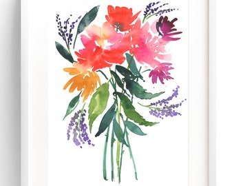 Peony Bouquet, Watercolor Art Print, Watercolor Painting, Floral Painting, Wall Art Print, Floral Art, Watercolor Flowers, Floral Wall Art