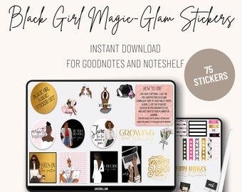 Digital Planner Stickers African American ~ Pre-Cropped Goodnotes and PNG Digital Planner Stickers -  Black Girl Magic Planner Stickers