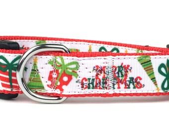 Christmas Presents and Trees Nylon Dog Collar