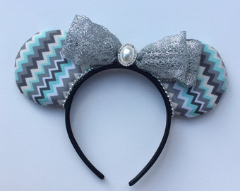 Blue and Gray Zig-Zag Mickey Ears, Blue and Gray Patterned Ears, Mickey Ears, Pattern Ears
