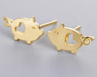 44c538846 14k Pig Earrings, 14k gold earrings, Pig Stud Earrings, 14k gold Jewelry,  Gift for her, Sister Gift, Best Friend Gift, 18k Gold Earrings