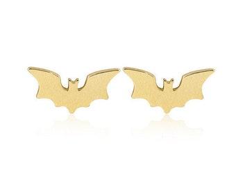 Bat Earrings, Gold Bat earrings, Halloween Earrings, Vampire earrings, Bat studs, Gold Bat Studs, Halloween studs, Vampire studs, Gift for
