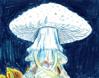 Mushroom Queen - A5 Original Drawing