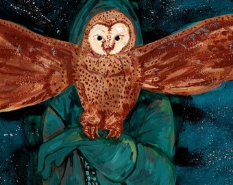 A Man and the Owl - Original Painting