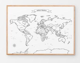 Hand drawn map | Etsy