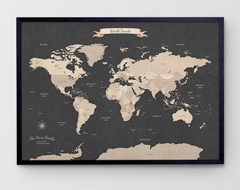 World map pin board etsy personalised canvas push pin travel map taupe framed world map custom travel map pin board australian made large gumiabroncs Choice Image