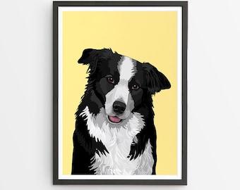 Border Collie Art Print  / Dog Gift / Pet Wall Art / Various Colours /  Dog Lover's Gift / Dog Portrait / Pet Gifts / Dog Art Print