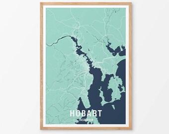 Hobart City Map Print Various Colours - Two-tone / Tasmania / Australia / City Print / Australian Maps / Giclee Print / Poster