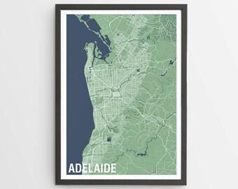 Two-tone Adelaide Map Print Various Colours / South Australia / City Print / Australian Maps / Giclee Print / Poster