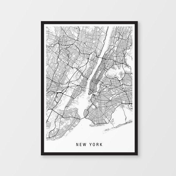 New York Map Print - Minimalist Map / USA / United States / America / City  Print / Maps / Giclee Print / Poster / Framed