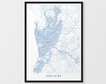 Adelaide Map Print - Minimalist Map Colour / Australia / City Print / Australian Maps / Giclee Print / Poster / Framed