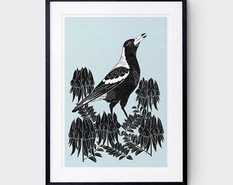Magpie Art Print / Australian Birds / Giclee Print / Poster / Bird Brint