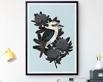 Kookaburra & Waratah Art Print / Australian Birds / Giclee Print / Poster / Bird Print / Native Birds
