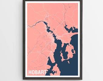 Hobart Map Print Various Colours - Two-tone / Tasmania / Australia / City Print / Australian Maps / Giclee Print / Poster