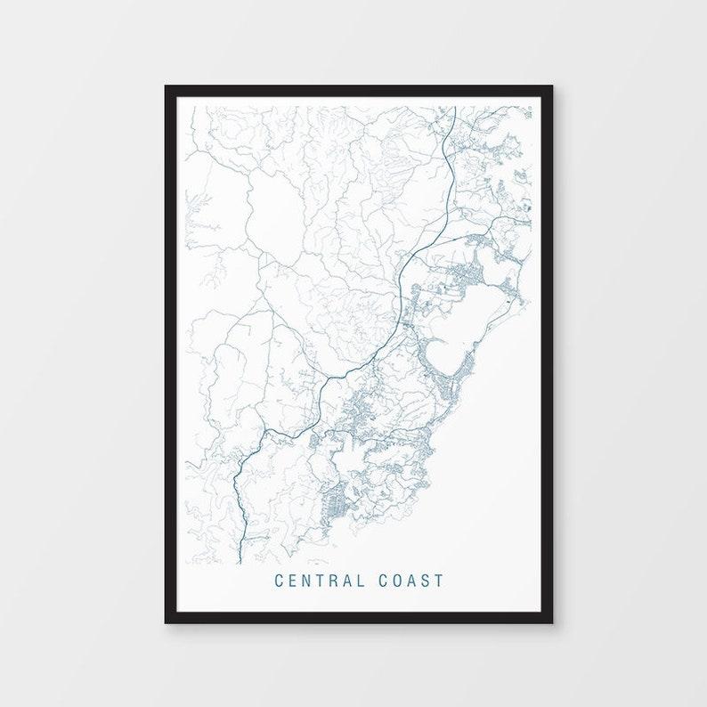 Central Coast Australia Map.Central Coast Map Print Minimalist Map Nsw New South Wales Australia City Print Australian Maps Art Prints Gosford Sydney