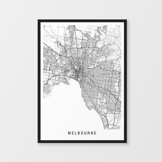 Melbourne Map Print Minimalist Map Victoria Australia Etsy