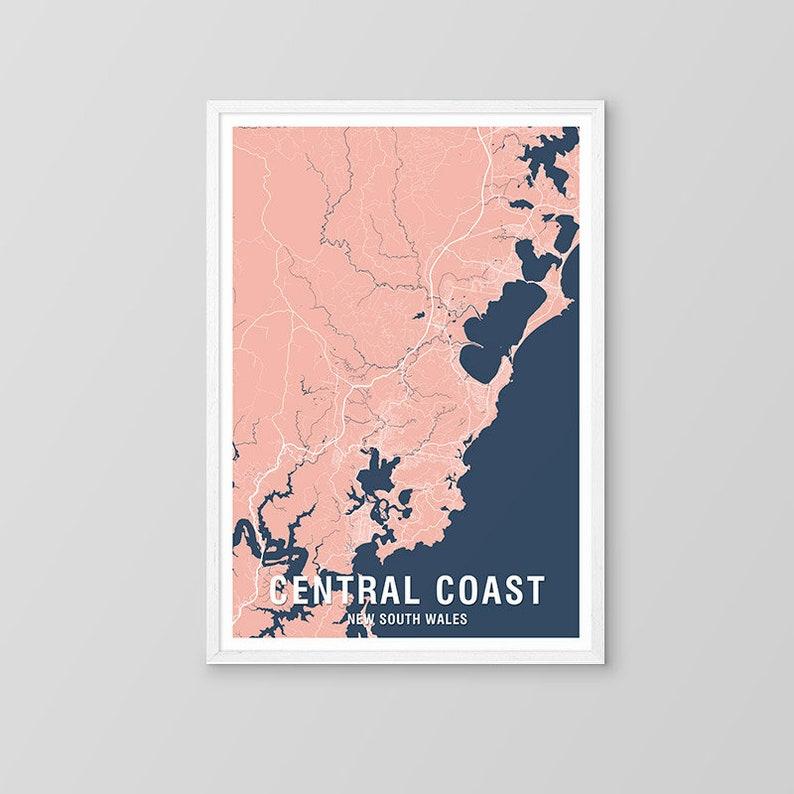 Central Coast Australia Map.Central Coast Map Print Two Tone Map Nsw New South Wales Australia City Print Australian Maps Art Prints Gosford Sydney