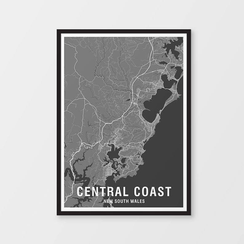 Central Coast Map Print Two-tone Map NSW New South Wales | Etsy