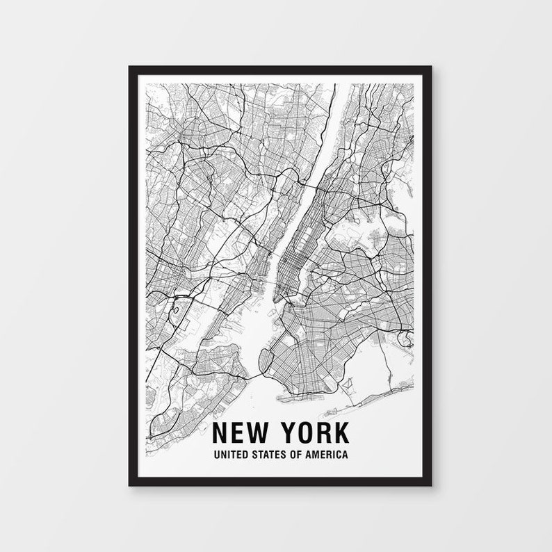 New York Map Print, Black & White, USA / NYC / Map Art / City Map Print /  City Art / Art Prints / Poster