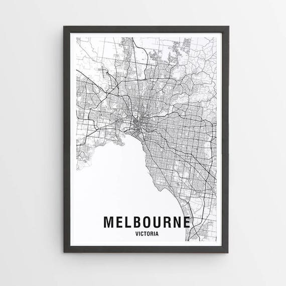 Australia Map Black And White.Melbourne Map Print Black White Map Australia City Print Australian Maps Giclee Print Poster