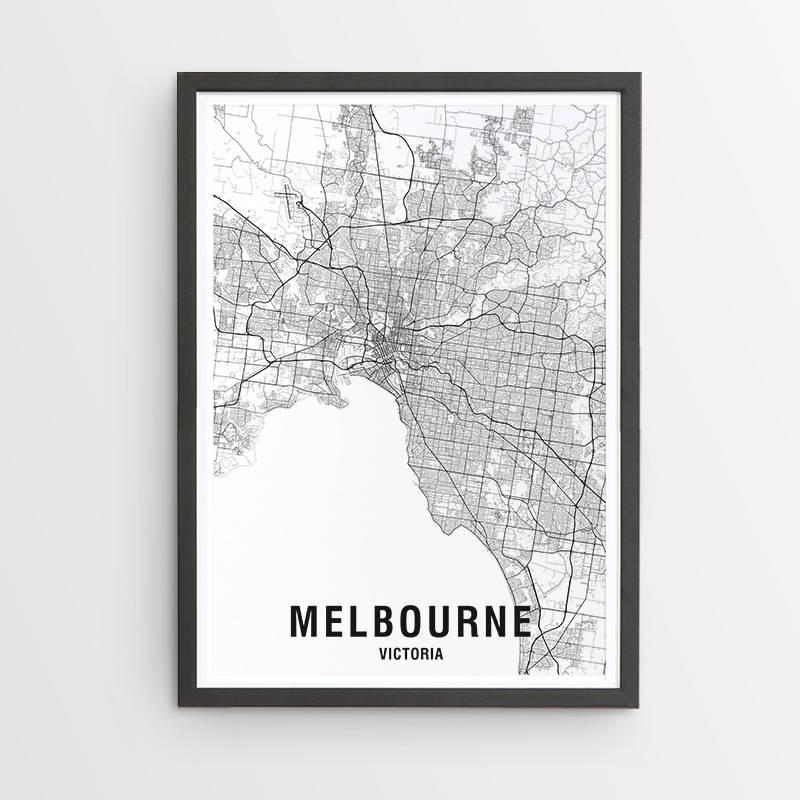 Melbourne Karte Druck schwarz & weiß / Karte / Australien /   Etsy