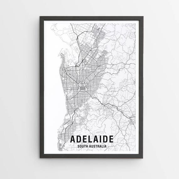 Australia Map Black And White.Adelaide Map Print Unframed Black White Map Australia City Print Australian Maps Giclee Print Poster