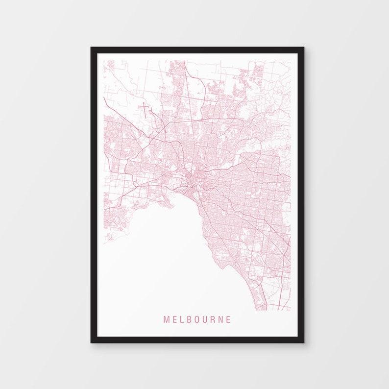 Australia Melbourne Map.Melbourne Map Print Minimalist Map Colour Australia City Print Australian Maps Giclee Print Poster Framed